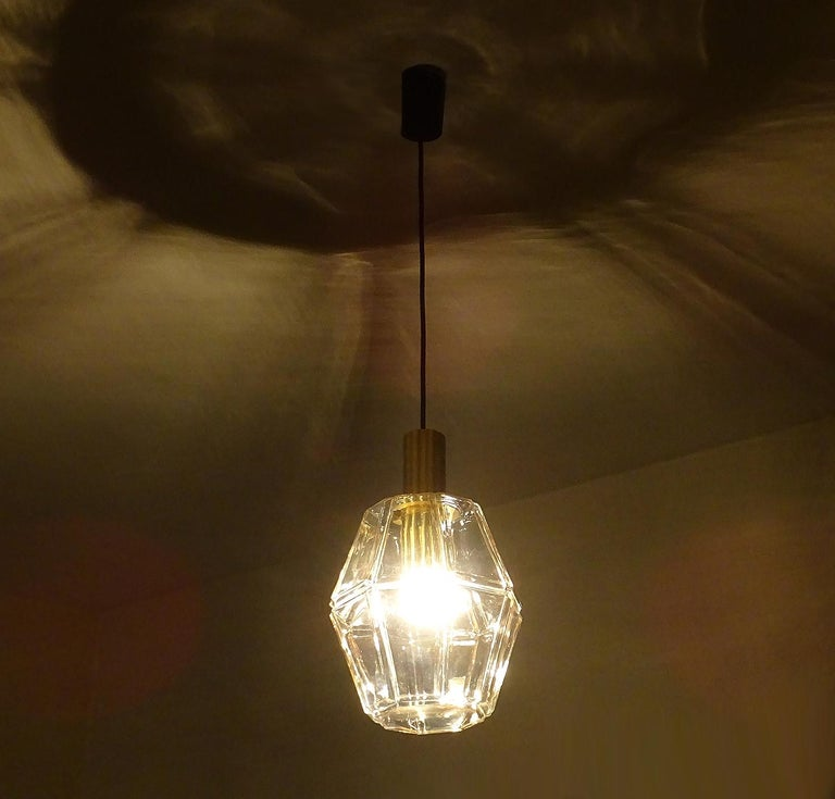 German Large Limburg Polyhedral Glass Brass Chandelier Pendant Light ,  Gio Ponti Era  For Sale