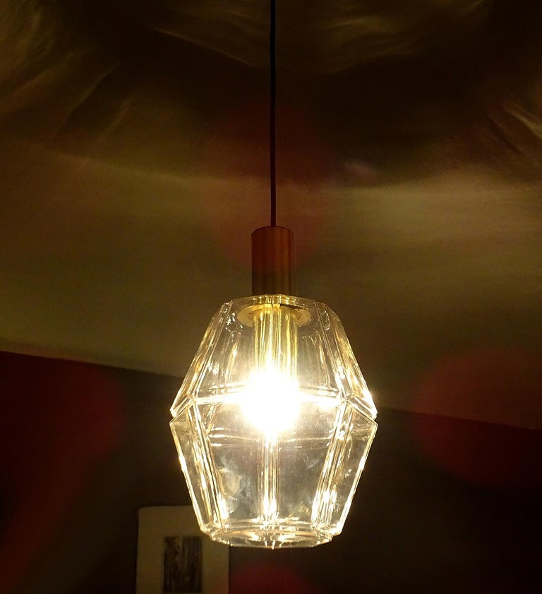 Large  Midcentury Limburg Glass Brass Chandelier Pendant Lamp,  Gio Ponti Era  In Excellent Condition For Sale In Bremen, DE