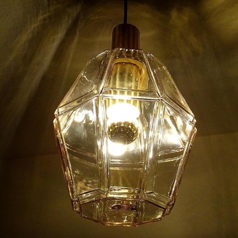 Large Limburg Polyhedral Glass Brass Chandelier Pendant Light ,  Gio Ponti Era  For Sale 1