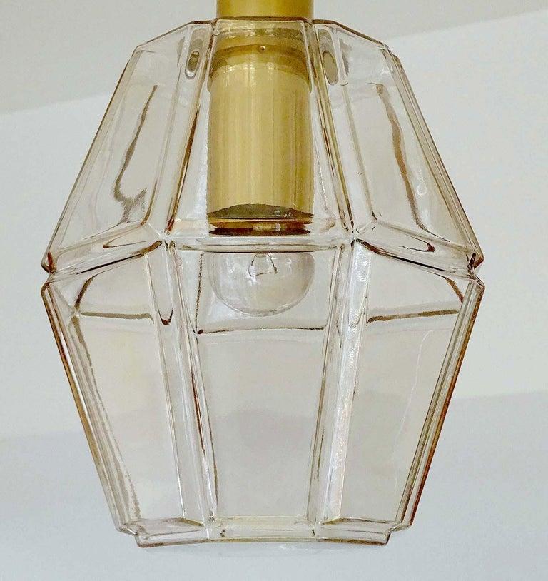 Large Limburg Polyhedral Glass Brass Chandelier Pendant Light ,  Gio Ponti Era  For Sale 2