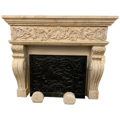 Midcentury Limestone Mantel from France