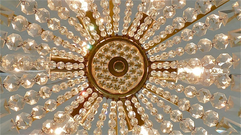 Midcentury Lobmeyr Style Drum Chandelier Patinated Brass Crystal Glass 1950s For Sale 4