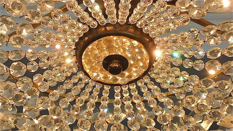 Midcentury Lobmeyr Style Drum Chandelier Patinated Brass Crystal Glass 1950s For Sale 5