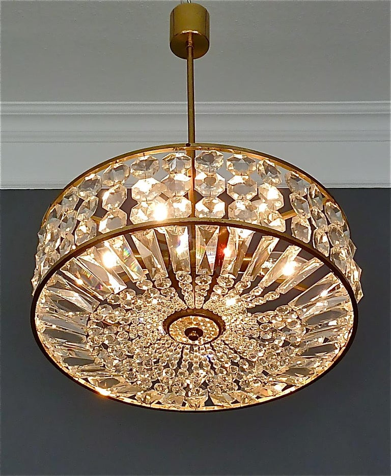 Midcentury Lobmeyr Style Drum Chandelier Patinated Brass Crystal Glass 1950s For Sale 6