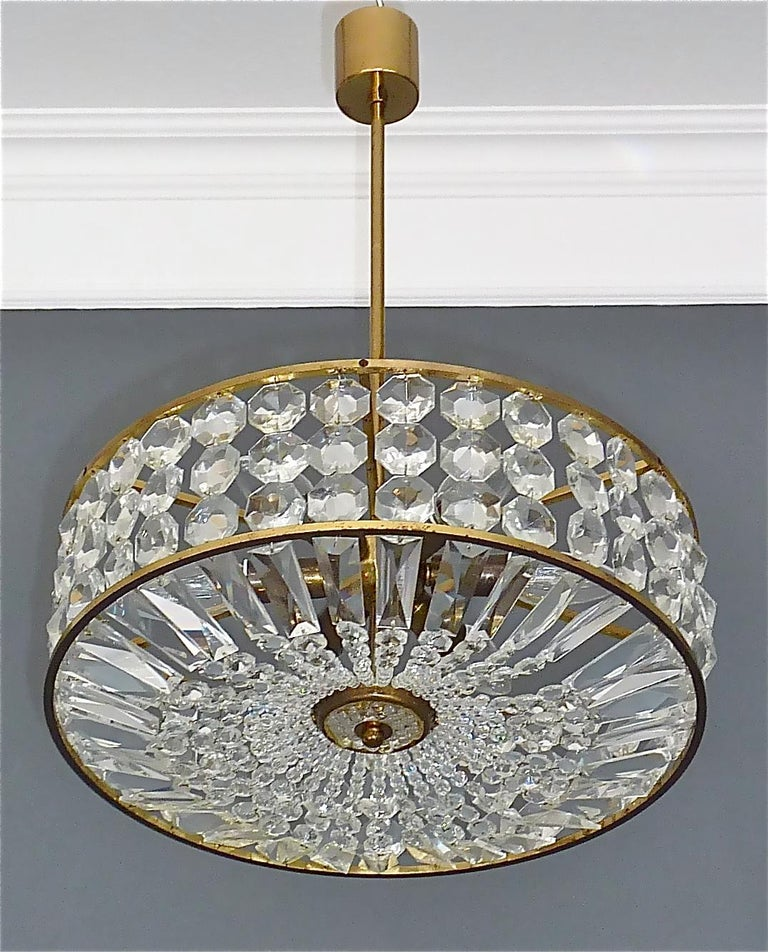 Midcentury Lobmeyr Style Drum Chandelier Patinated Brass Crystal Glass 1950s For Sale 7