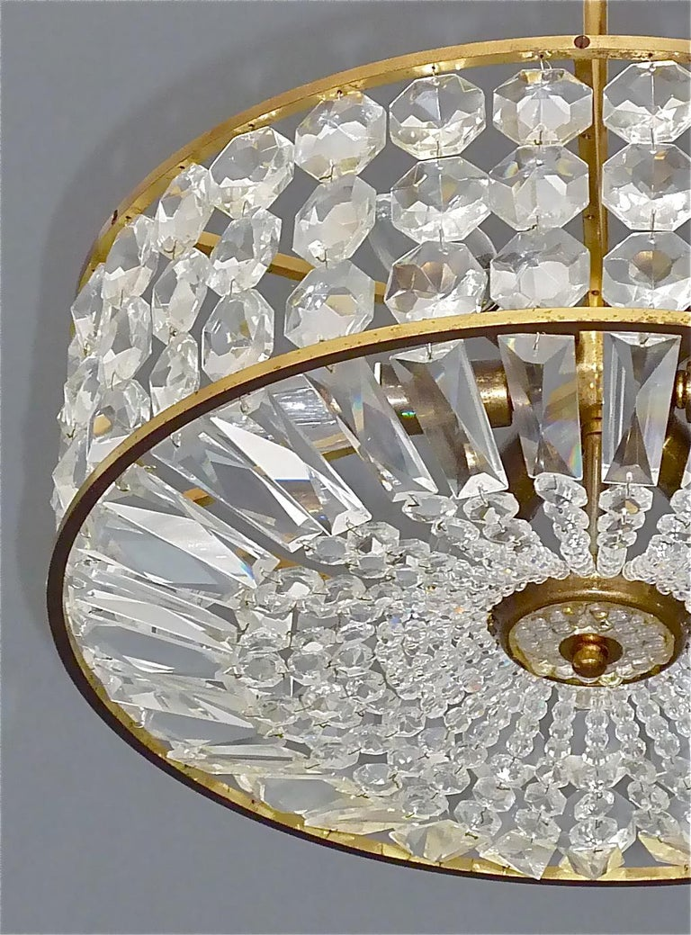 Mid-Century Modern Midcentury Lobmeyr Style Drum Chandelier Patinated Brass Crystal Glass 1950s For Sale