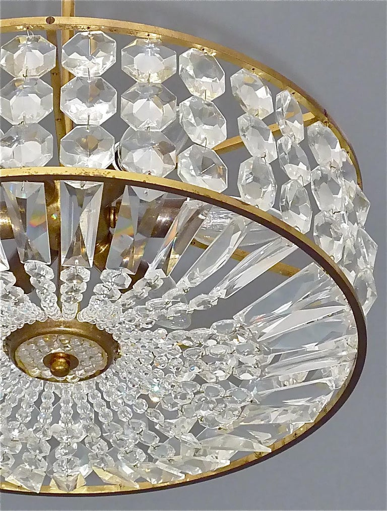 Austrian Midcentury Lobmeyr Style Drum Chandelier Patinated Brass Crystal Glass 1950s For Sale