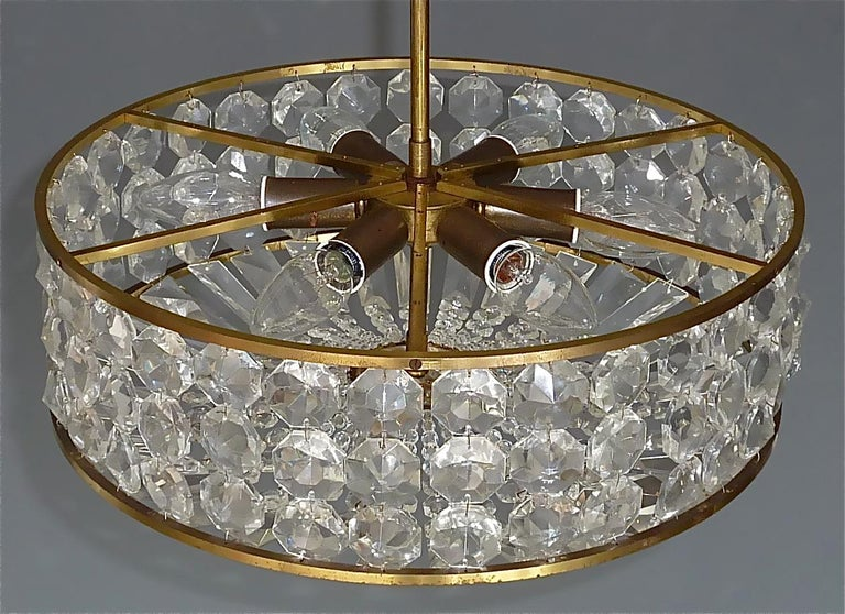 Mid-20th Century Midcentury Lobmeyr Style Drum Chandelier Patinated Brass Crystal Glass 1950s For Sale