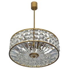 Midcentury Lobmeyr Style Drum Chandelier Patinated Brass Crystal Glass 1950s