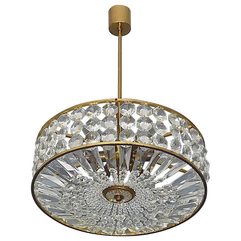 Midcentury Lobmeyr Style Drum Chandelier Patinated Brass Crystal Glass 1950s For Sale