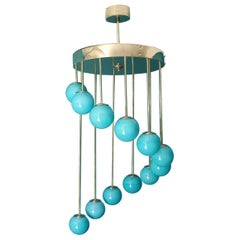 Midcentury Long Chandelier Turquoise Blue Murano Glass, Staircase Chandelier