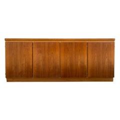 Midcentury Long Danish Modern Teak Credenza Sideboard 4-Door