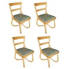 Midcentury Loop Leg Rattan Dining Side Chair, Set of Four