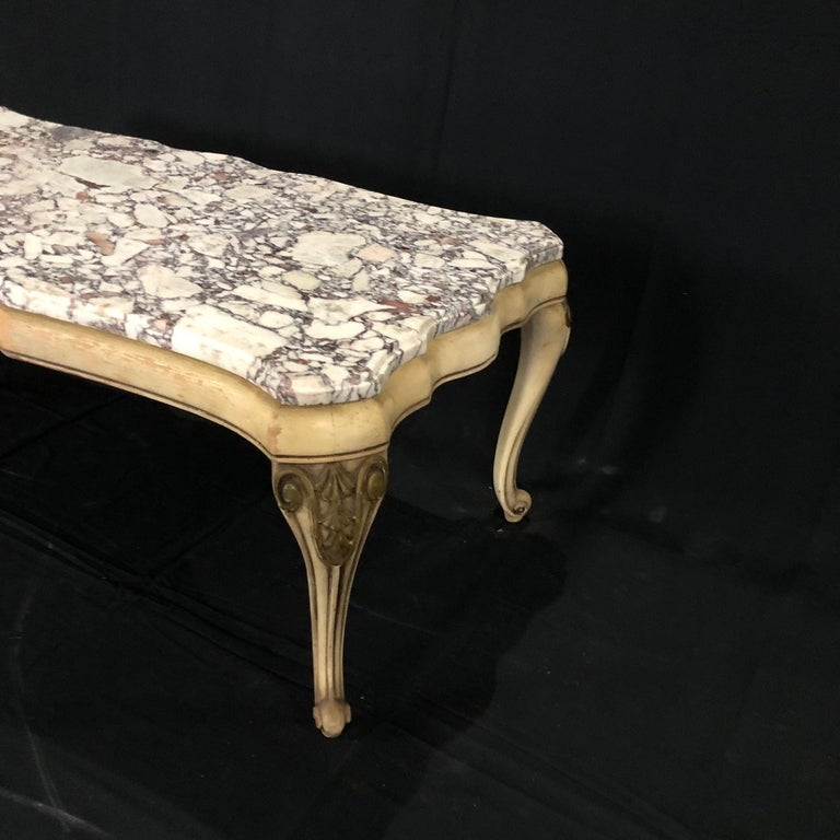 Midcentury Louis XV Style Coffee Table with Stunning Marble Top For Sale 5