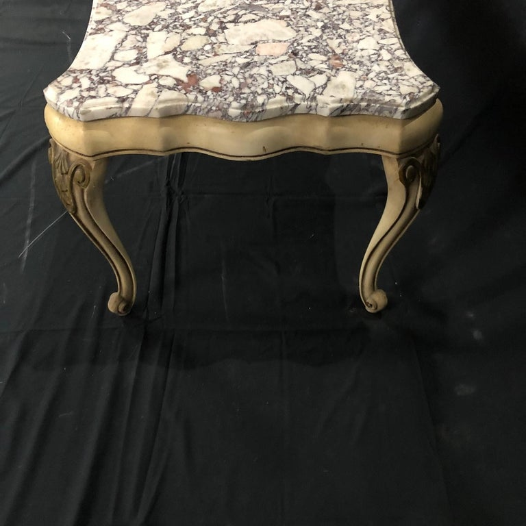 American Midcentury Louis XV Style Coffee Table with Stunning Marble Top For Sale