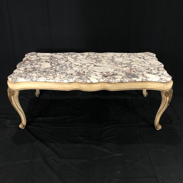 Midcentury Louis XV Style Coffee Table with Stunning Marble Top In Good Condition For Sale In Hopewell, NJ