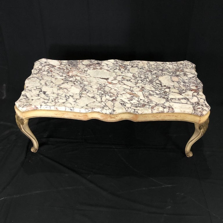 Midcentury Louis XV Style Coffee Table with Stunning Marble Top For Sale 3
