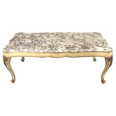 Midcentury Louis XV Style Coffee Table with Stunning Marble Top