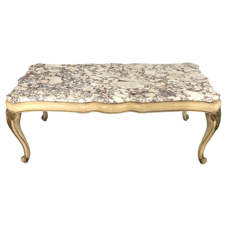 Midcentury Louis XV Style Coffee Table with Stunning Marble Top For Sale