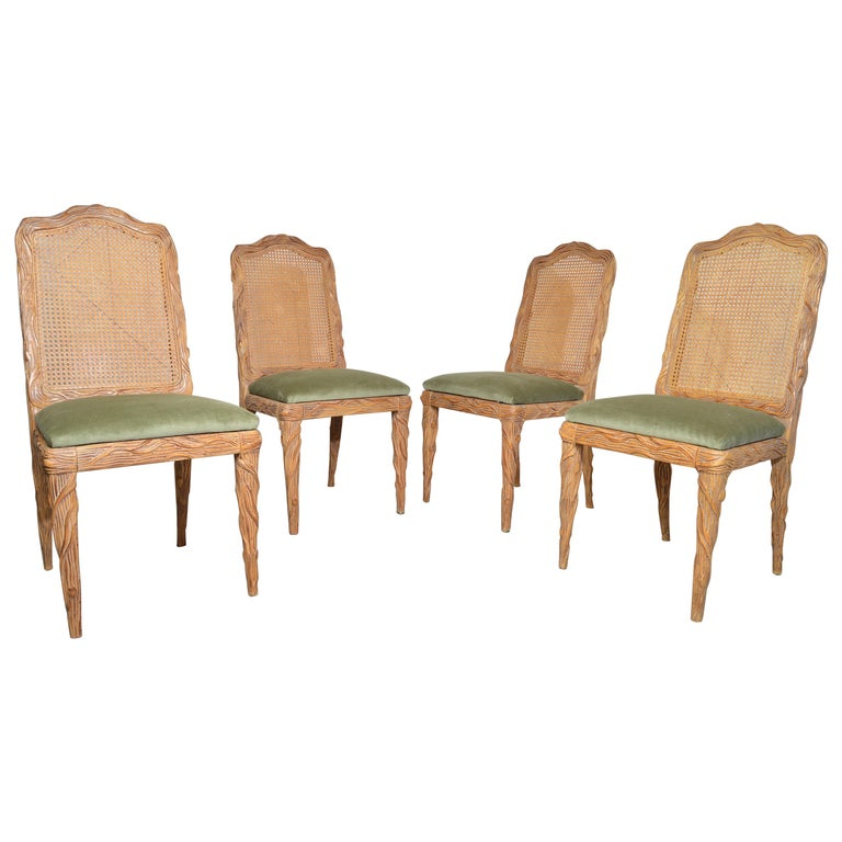 Midcentury Louis XVI Style Faux Bois Rush Cane Branch Form Back Dining Chairs For Sale