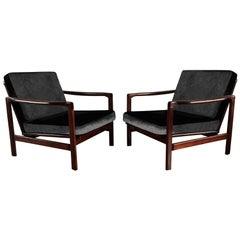 Midcentury Lounge Armchairs Set in Black Velvet, Zenon Bączyk, 1960s