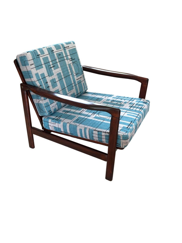 Mid-Century Modern Midcentury Lounge Armchairs Set in Blue Jacquard, Zenon Bączyk, 1960s For Sale