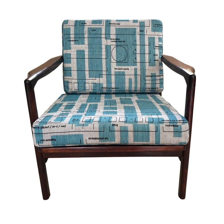 Polish Midcentury Lounge Armchairs Set in Blue Jacquard, Zenon Bączyk, 1960s For Sale
