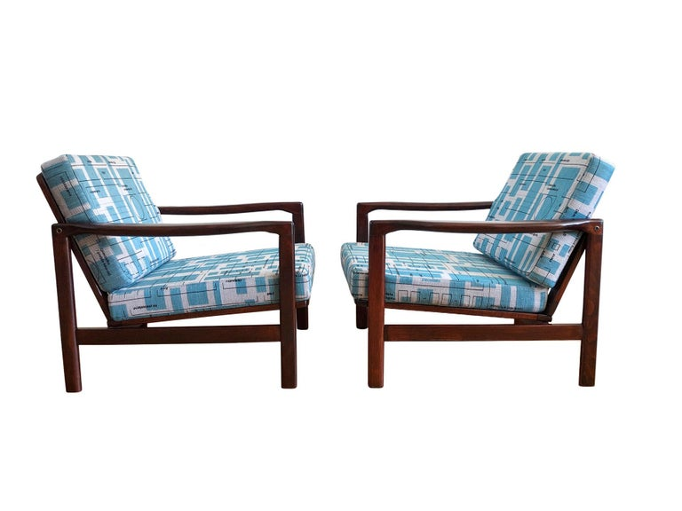 Midcentury Lounge Armchairs Set in Blue Jacquard, Zenon Bączyk, 1960s In Excellent Condition For Sale In Warsaw Wesola, PL
