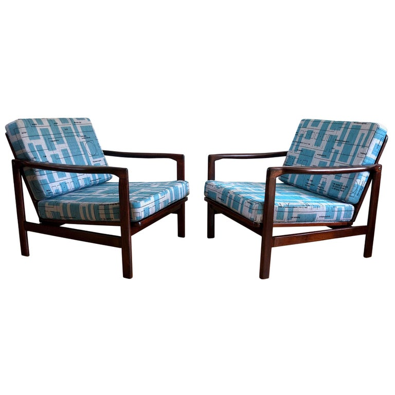 Midcentury Lounge Armchairs Set in Blue Jacquard, Zenon Bączyk, 1960s For Sale