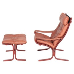 Midcentury Lounge Chair and Ottoman in Leather by Ingmar Relling
