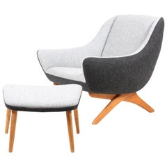 Midcentury Lounge Chair and Ottoman with New Kvadrat Fabric by Illum Willelsoe