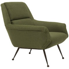 Midcentury Lounge Chair by Gio Ponti for Minotti in Green Fabric
