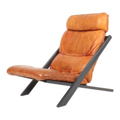 Midcentury Lounge Chair by Ueli Berger for De Sede Lounge in Cognac Leather