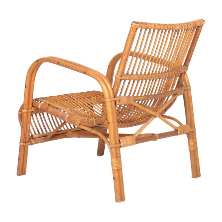Midcentury Lounge Chair in Bamboo & Elm Designed by Wengler, Danish Design 1940