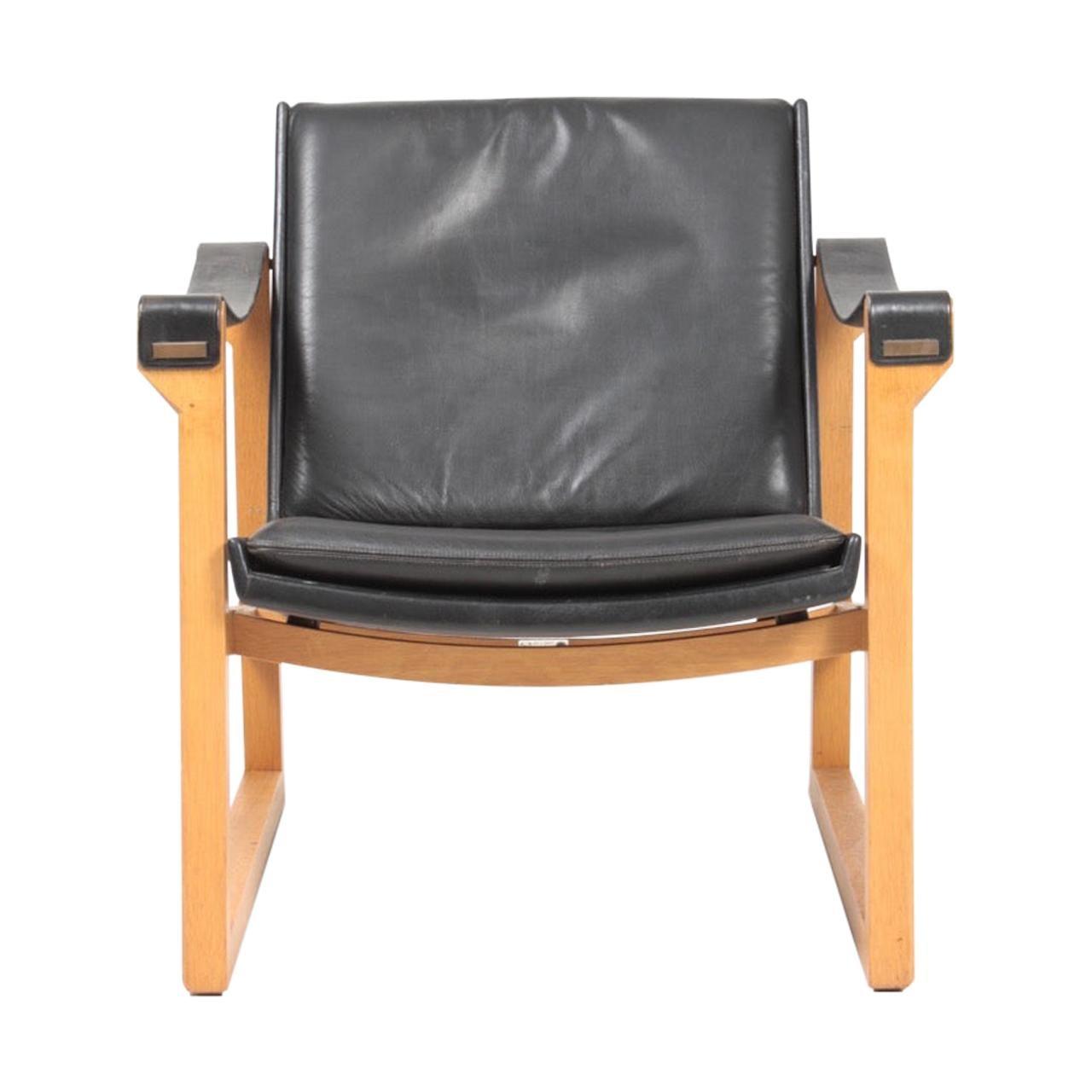Midcentury Lounge Chair in Leather by Karen & Ebbe Clemmesen, Danish Design