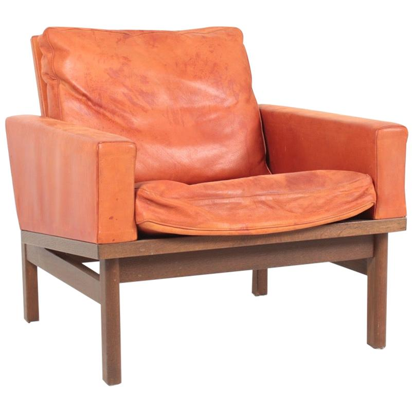 Midcentury Lounge chair in Patinated Leather by Erik Jørgensen, 1960s