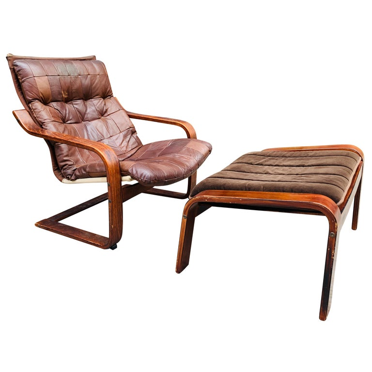 Midcentury Lounge Chair with Ottoman For Sale