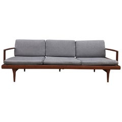 Midcentury Low Danish Modern 3-Seat Sofa Couch Daybed Solid Teak Grey Fabric