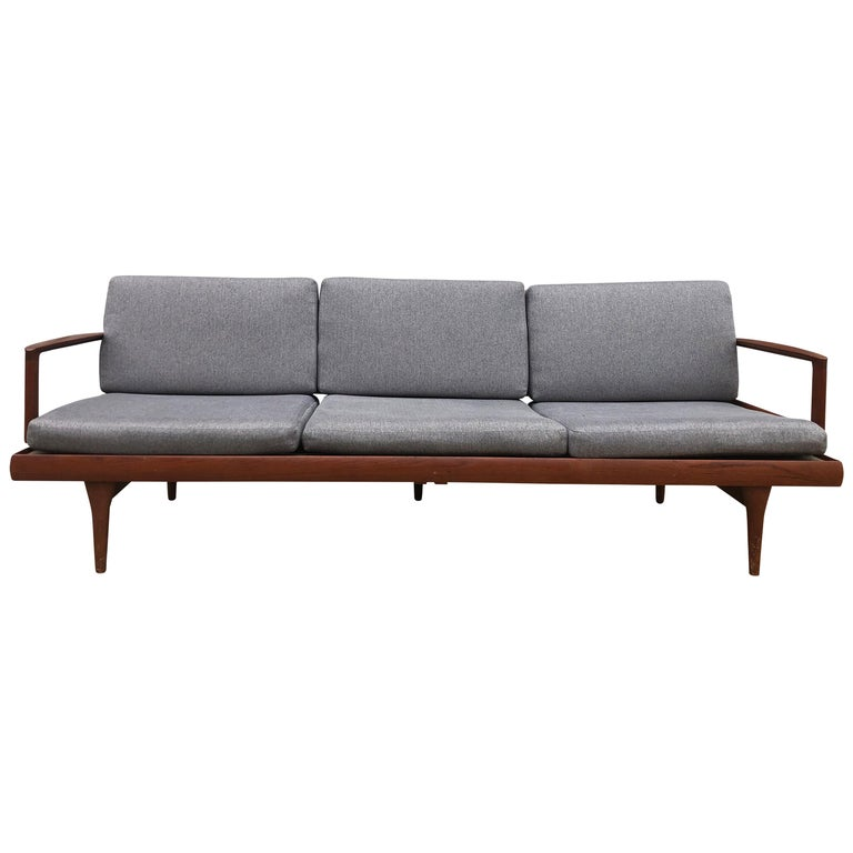 Midcentury Low Danish Modern 3 Seat Sofa Couch Daybed Solid Teak Grey Fabric