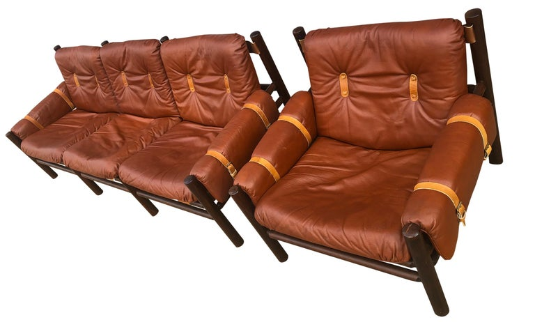 Mid-Century Modern Midcentury Low Sling Leather Safari Sofa and Lounge Chair by Bruksbo, Norway For Sale