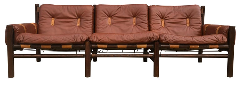 Norwegian Midcentury Low Sling Leather Safari Sofa and Lounge Chair by Bruksbo, Norway For Sale