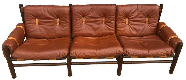 Midcentury Low Sling Leather Safari Sofa and Lounge Chair by Bruksbo, Norway In Good Condition For Sale In BROOKLYN, NY