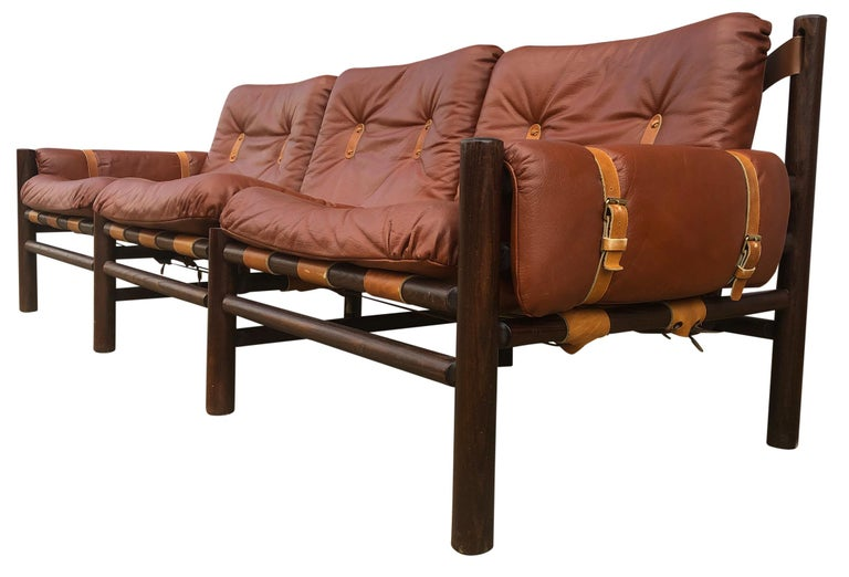 Late 20th Century Midcentury Low Sling Leather Safari Sofa and Lounge Chair by Bruksbo, Norway For Sale
