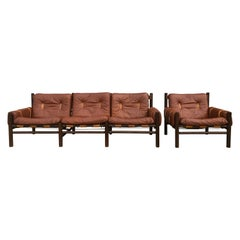 Midcentury Low Sling Leather Safari Sofa and Lounge Chair by Bruksbo, Norway