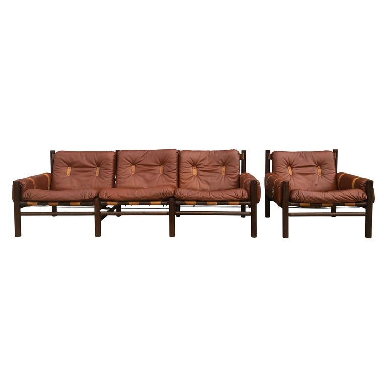 Midcentury Low Sling Leather Safari Sofa and Lounge Chair by Bruksbo, Norway For Sale