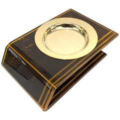Midcentury Lucite and and Brass French Ashtray after Christian Dior, 1970