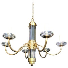 Mid-20th Century Lucite and Brass Chandelier, Signed Fredrick Cooper