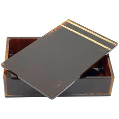 Midcentury Lucite and Brass Christian Dior Jewelry Box, French 1970