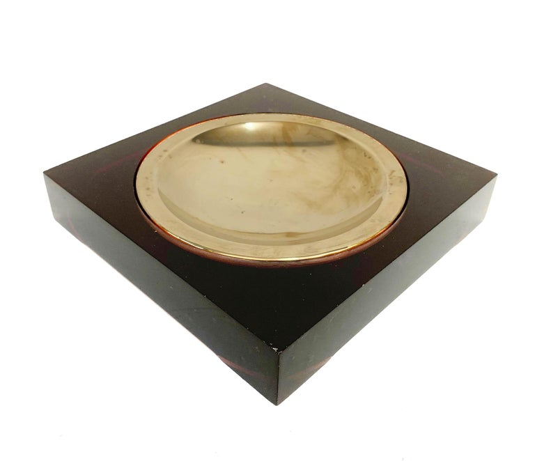 Mid-Century Modern Midcentury Lucite and Brass Squared Valet Tray in Christian Dior Style, 1970 For Sale