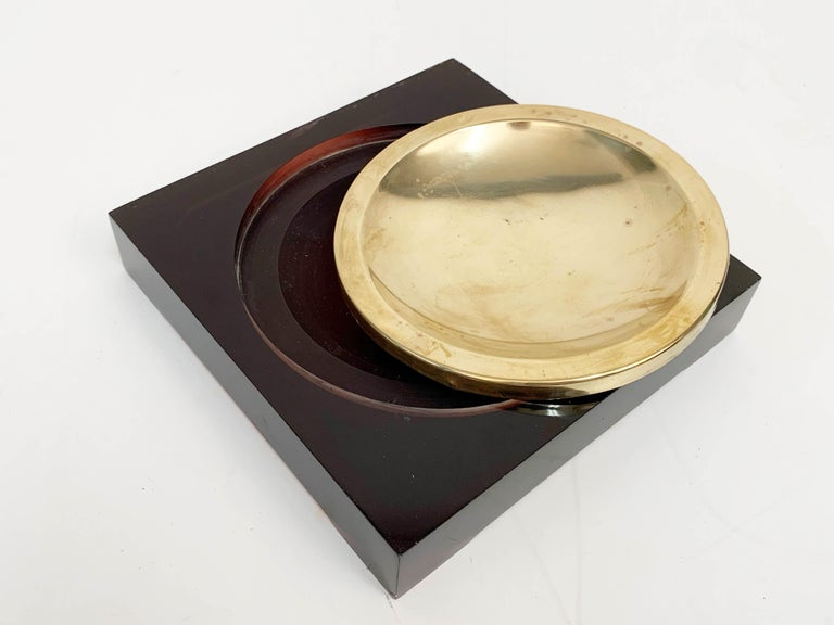 French Midcentury Lucite and Brass Squared Valet Tray in Christian Dior Style, 1970 For Sale